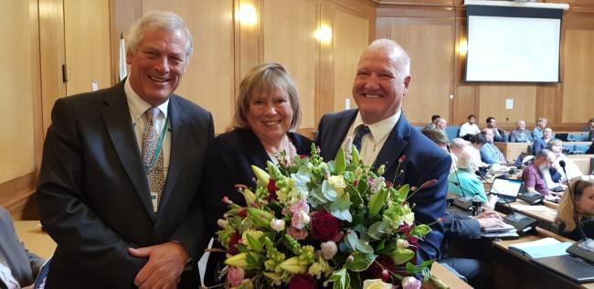 Former Wiltshire Council deputy leader John Thomson, former leader Jane Scott and new leader Philip Whitehead at County Hall