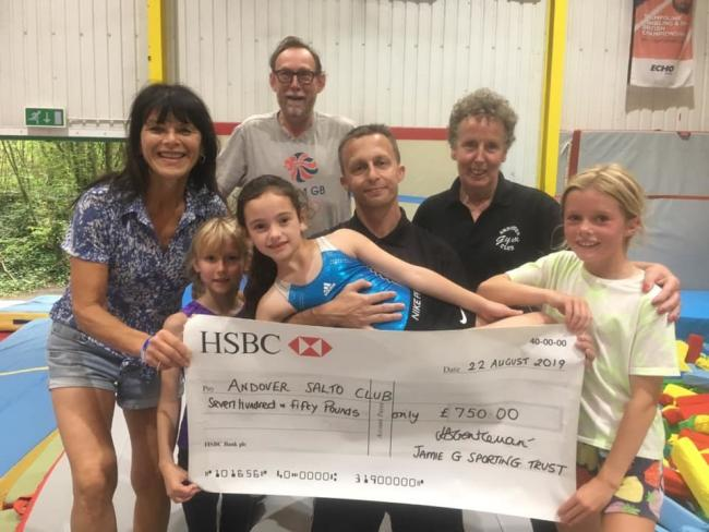 Andover Salto Club received a cheque for £750 from the Jamie G Sporting Trust
