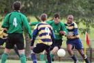 Action from Pharmasol v Barton Stacey on Sunday. Pic Chris de Cani