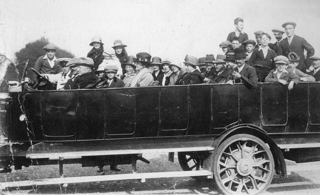 Bill Hiscock started a coach business in Little London called Heather Princess.  A Daimler char-a-banc with driver Cyril 'Tubby' Hiscock, circa 1920s. Picture for the John Marchment collection.
