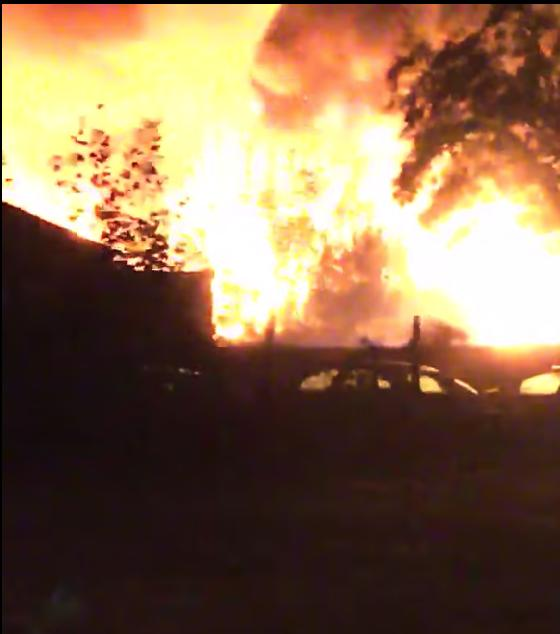 Dramatic footage shows the fire engulfing the building last night. Credit: Shannon Coleman