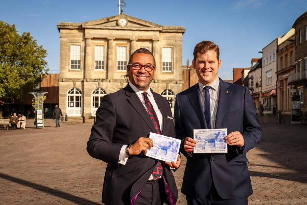 James Cleverly and Phil North in Andover High Street