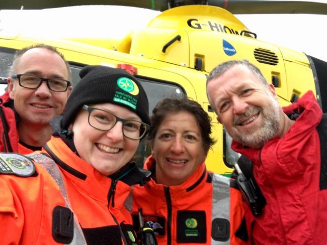 From left: Dr Tim Nicholson-Roberts, Dr Amy Andrew, specialist Critical Care paramedic Louise Wigmore and captain Dave Nicholls