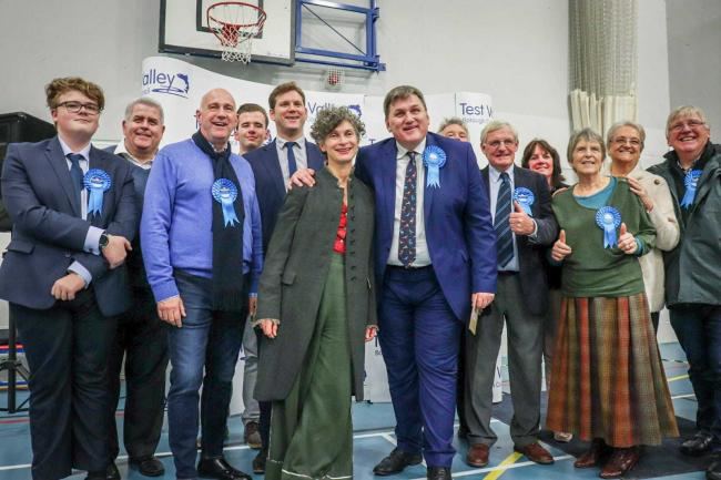 Kit Malthouse and his fellow Conservatives after his resounding victory in North West Hampshire