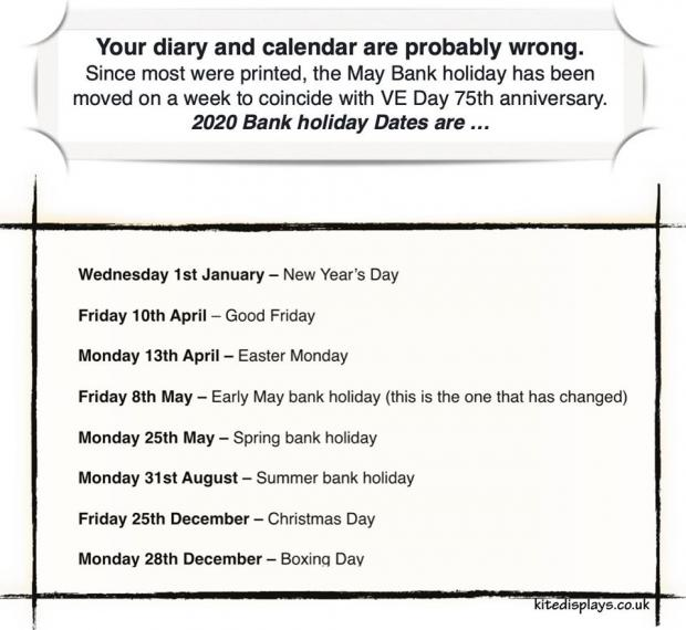 Andover Advertiser: Here is the revised bank holidays for 2020.