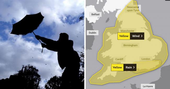 Batten down the hatches! Met Office issues yellow weather warning for 80mph winds and heavy rain