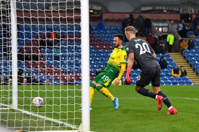 Josip Drmic scores Norwich's second goal in their win at Burnley