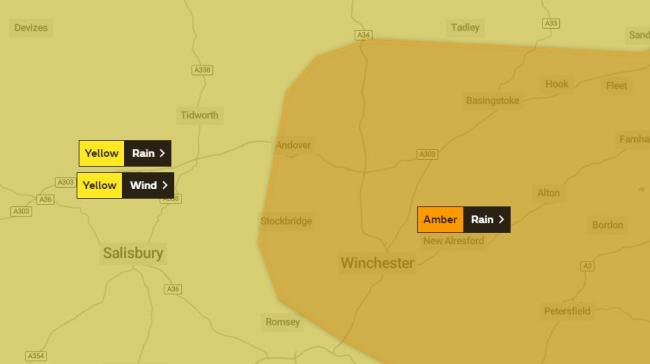 An amber warning has been issued for much of North Hampshire