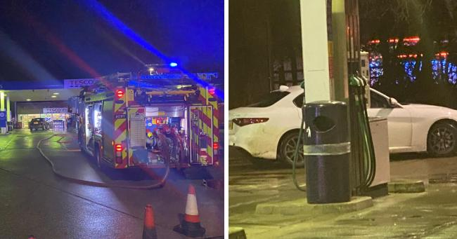 Car drives into petrol pump at Andover fuel station