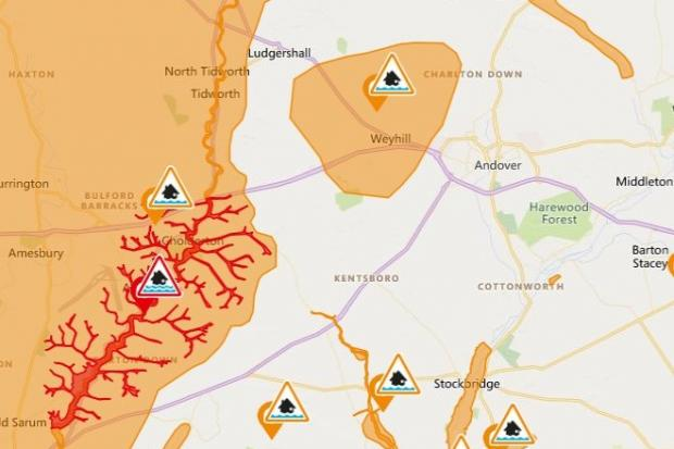 Flood alerts in place across the Andover area (Photo: Flood information service)