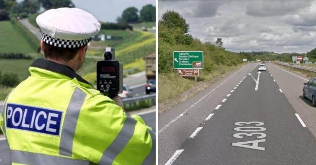 The driver was clocked at 100mph on the A303 near Andover