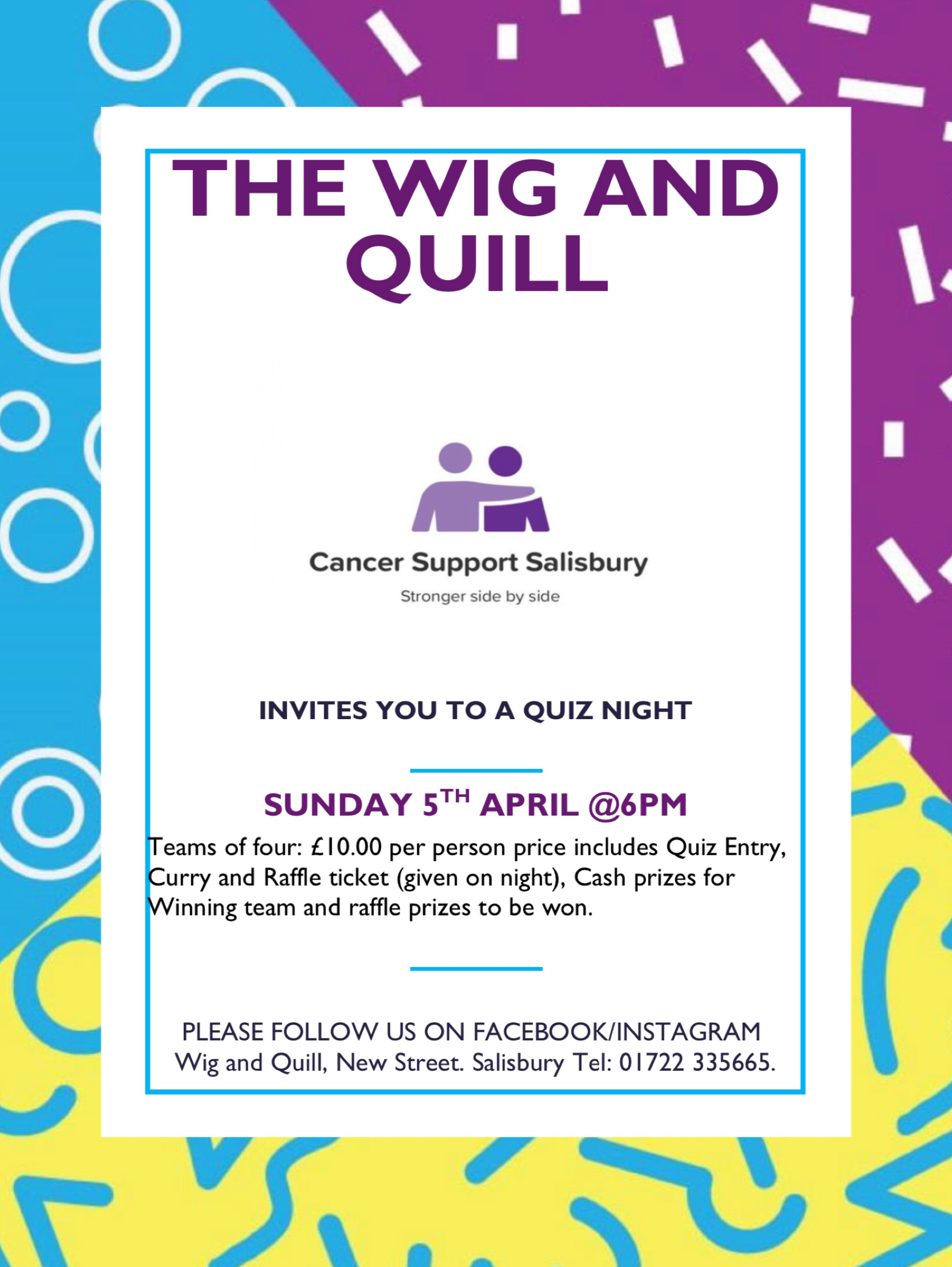 Quiz Night at The Wig & Quill for Cancer Support Salisbury