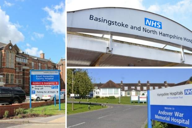 Hampshire Hospitals NHS Foundation Trust runs Winchester (left), Basingstoke (top) and Andover (bottom) hospitals