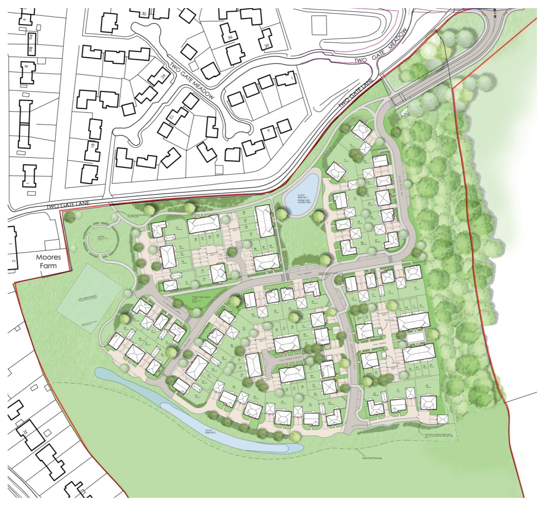 Bewley Homes has lodged plans for an 82-home development in Overton