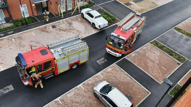A man was treated for burns after a fire broke out in his kitchen