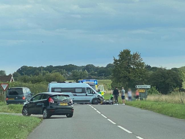 A motorcycle has been involved in a crash in Whitchurch