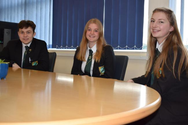 Left to Right: Tarik Kirgin, Head Boy, Sophie Cole, Deputy Head Girl and Maddy Cox, Head Girl