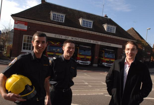 Winchester firefighters with developer Angus Cook in 2010