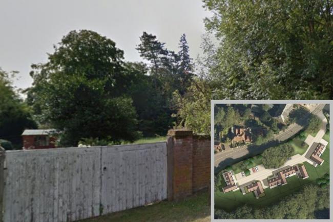 Nine houses are planned for the site on Church Lane; part of the former home of Lord Denning. Credit: Street View and BDBC