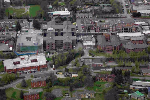 Royal Hampshire County Hospital in Winchester. Florence Portal House is bottom left