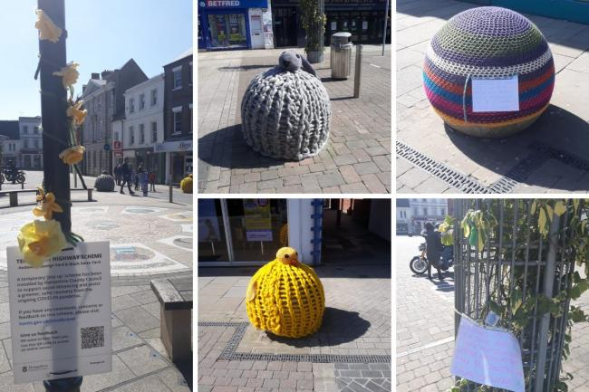 The Easter-themed yarnbombing in Andover was commissioned by Andover BID
