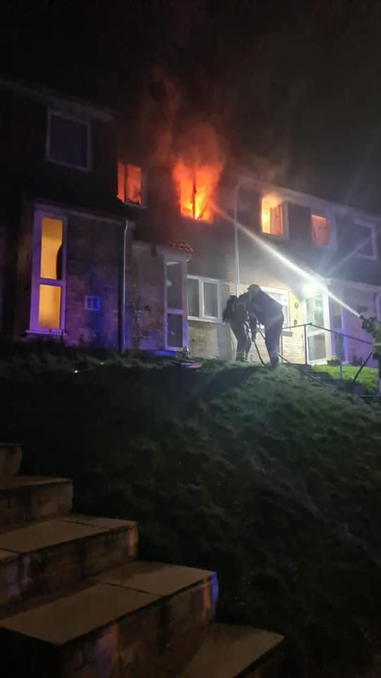 The first floor was well-alight after a candle was left burning. Credit: Hampshire & Isle of Wight Fire & Rescue Service