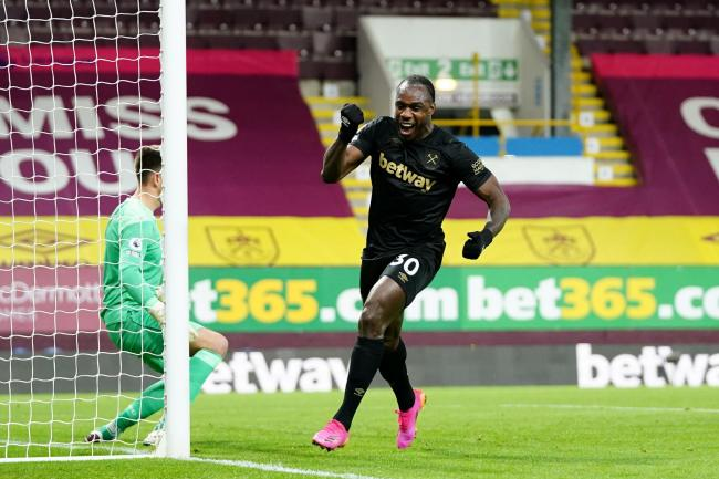 Michail Antonio celebrates scoring West Ham's winner at Burnley
