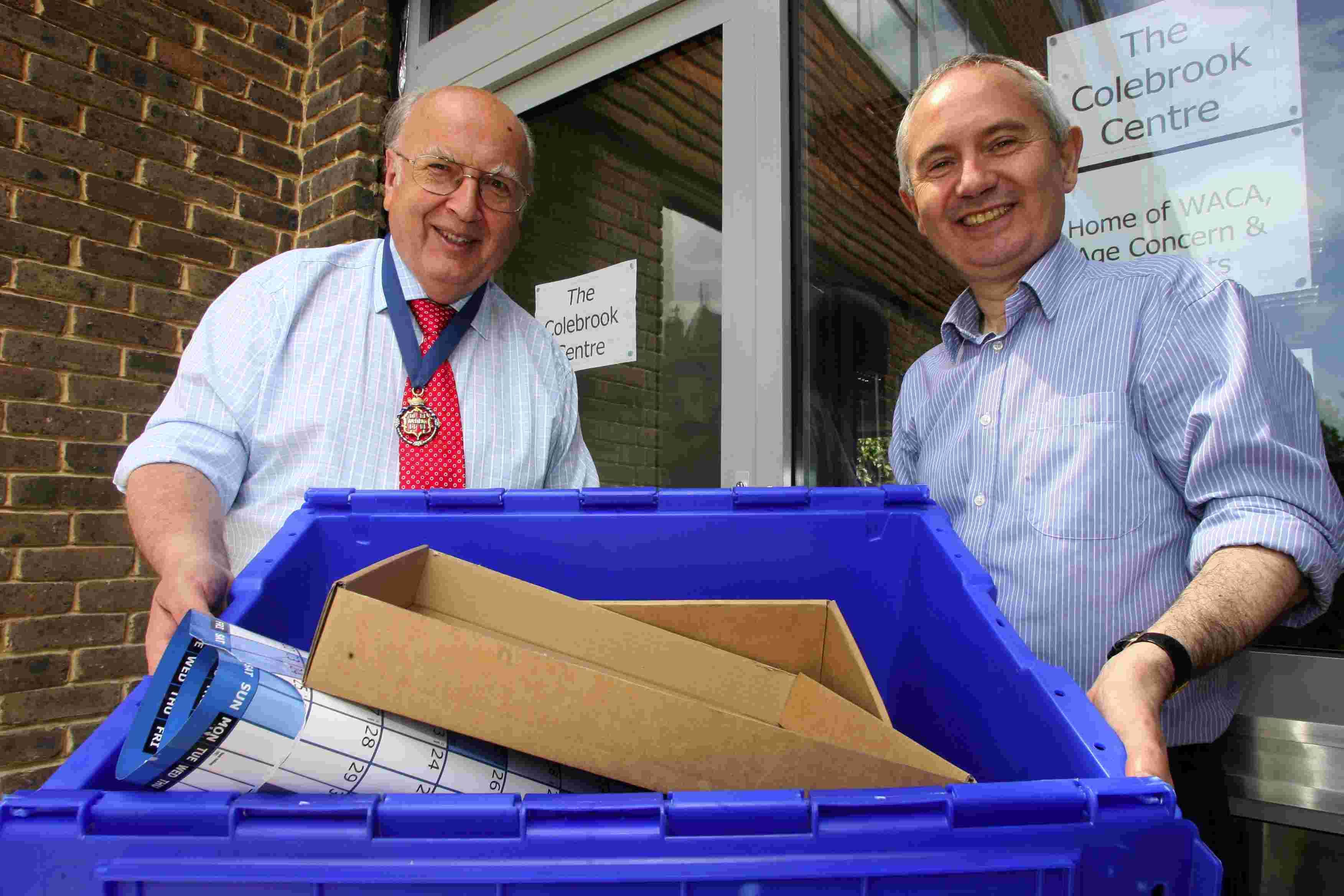 Mayor of Winchester, Cllr Barry Lipscomb, left, welcoming WACA chief executive Paul Williams to the Colebrook Centre in 2011