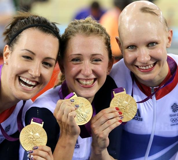 Hampshire cyclist Dani King, left and Laura Trott and Joanna Rowsell