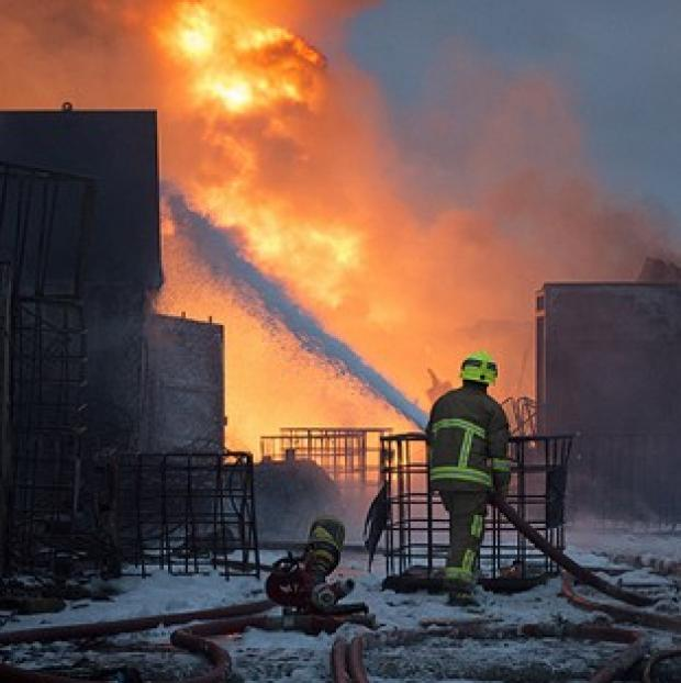 Fire crews are tackling a large blaze at a recycling yard in Essex (Graham S Dean/Essex Fire Service/PA Wire)