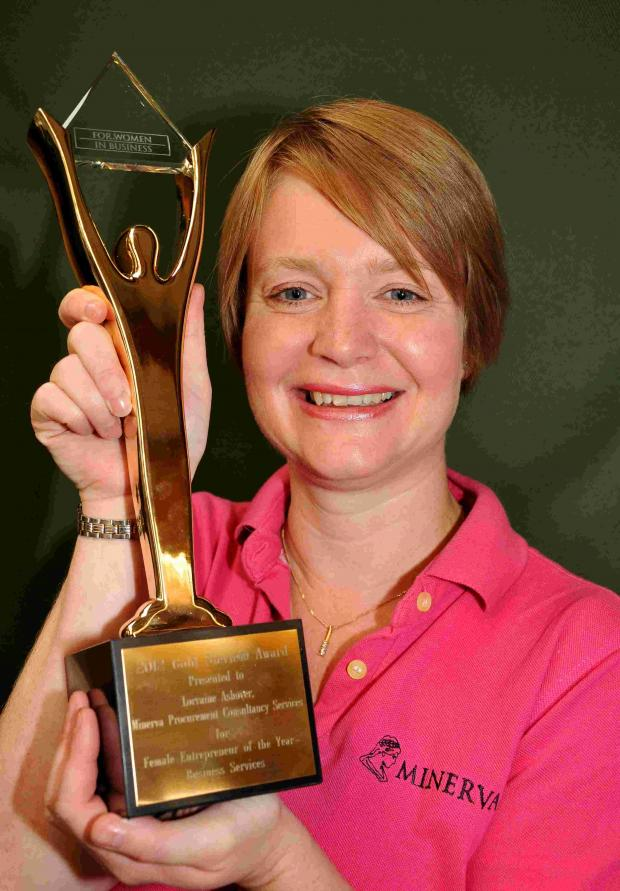 Andover Advertiser: Lorraine Ashover with her Gold  Stevie Award