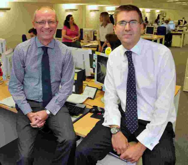 L-R: NatWest's Chris Richardson and Paul Marston at the bank's Top of The Town offices