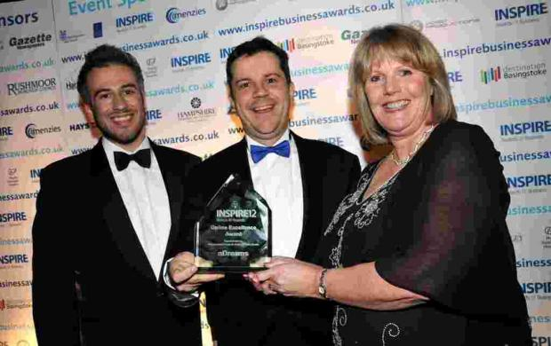Andrew Madden and Patrick O'Luanaigh from nDreams with Susan Paterson from Minuteman Press