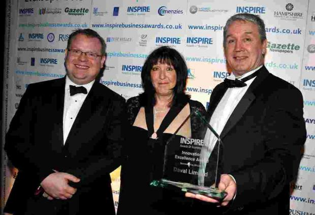 L-R: Thom Thopr of Lilly with Jo Harris and David Gosley of DAVAL with their INSPIRE12 award