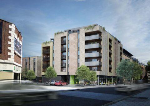 An artist's impression of the new flats on the site of the former New York nightclub and McClusky's bar