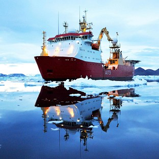 HMS Protector, off James Ross Island, near the north-eastern extremity of Antarctic Peninsula
