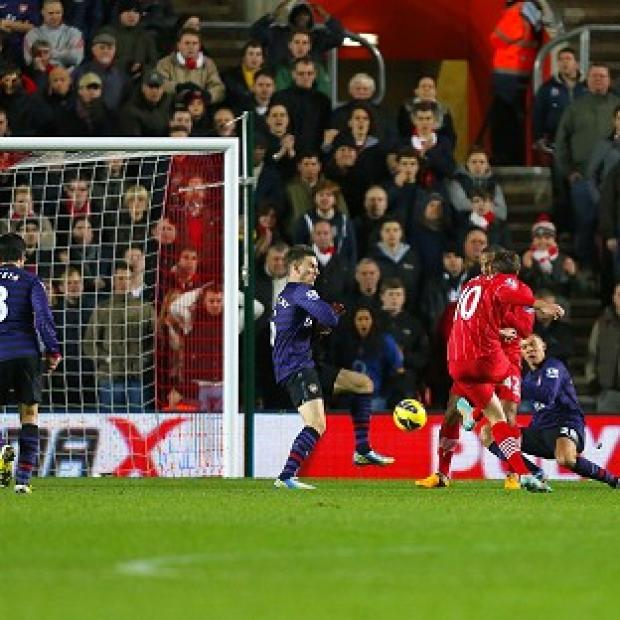 Gaston Ramirez, second right, scores Southampton's goal