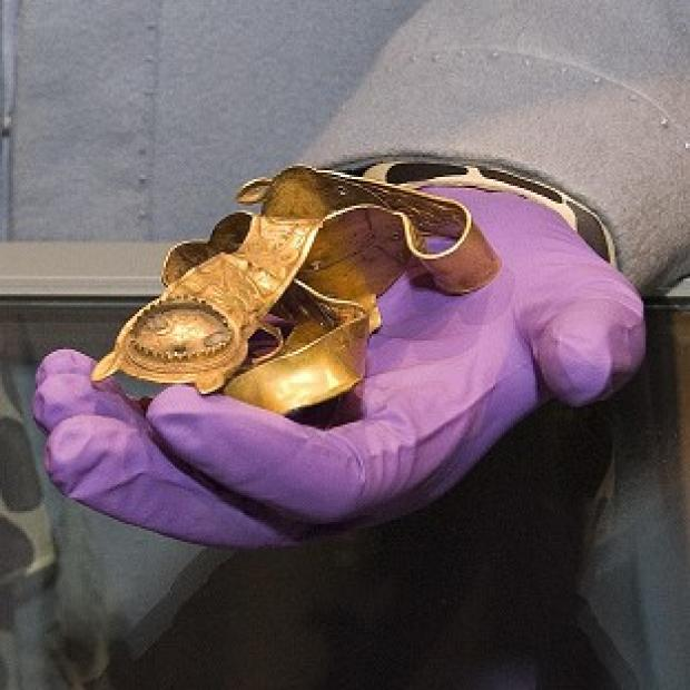 An exhibit from the Staffordshire Hoard Exhibition at the Potteries Museum and Art Gallery, Hanley, Stoke-on-Trent