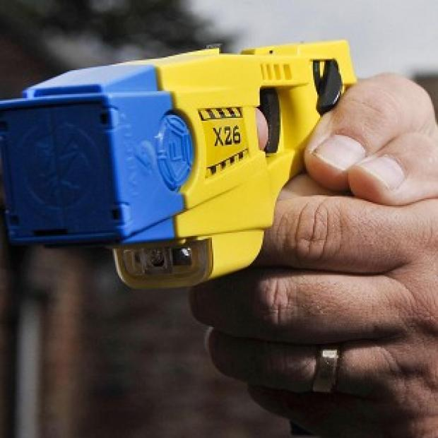 A blind stroke victim was shot in the back with a 50,000-volt Taser stun gun