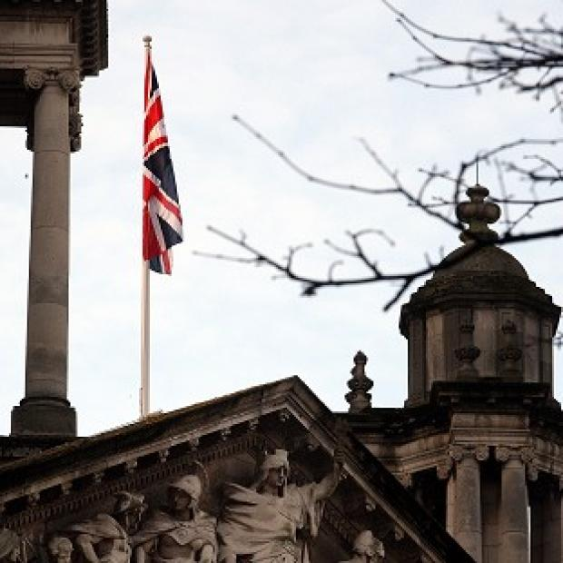 Andover Advertiser: The Union flag was flown over Belfast City Hall on Wednesday to mark the Duchess of Cambridge's birthday