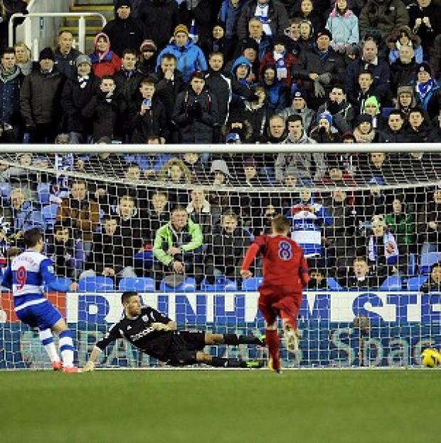 Andover Advertiser: Adam Le Fondre, left, scores Reading's equaliser