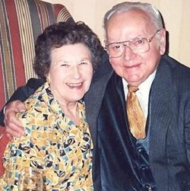Una Crown, pictured with her late husband Jack, was found murdered in her Cambridgeshire bungalow on Sunday