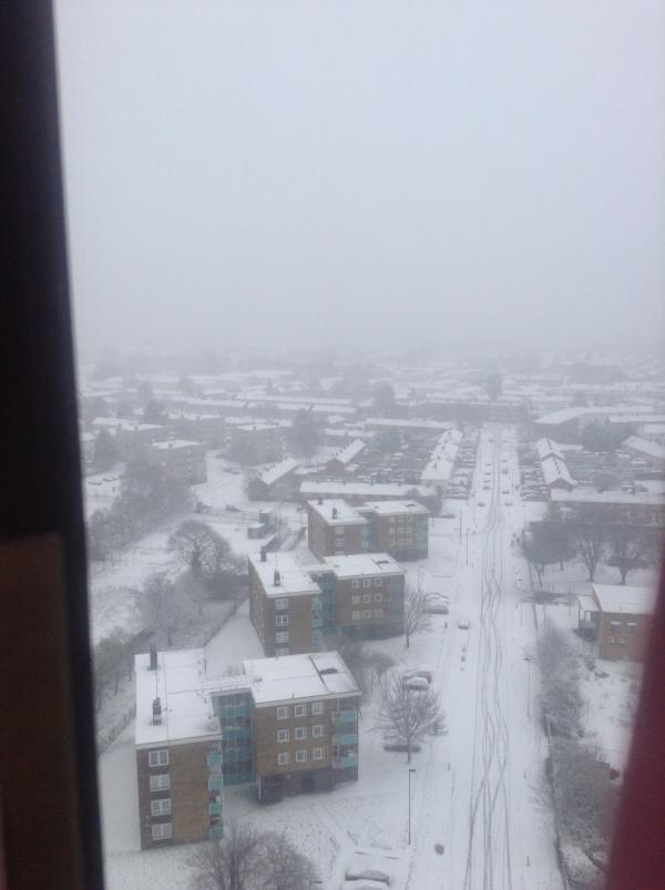 View from Redbridge Tower in the snow