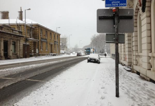 Canute Road in the snow
