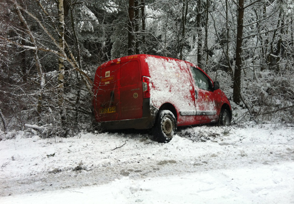 A crashed post van near Ringwood.