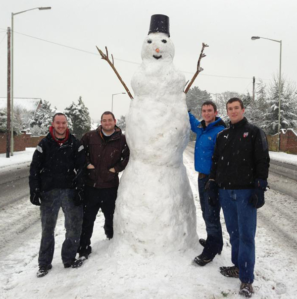 Andover Advertiser: Mike Hontair's big snowman.