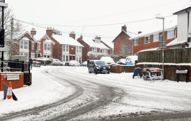 Snow covered Old Winton Road