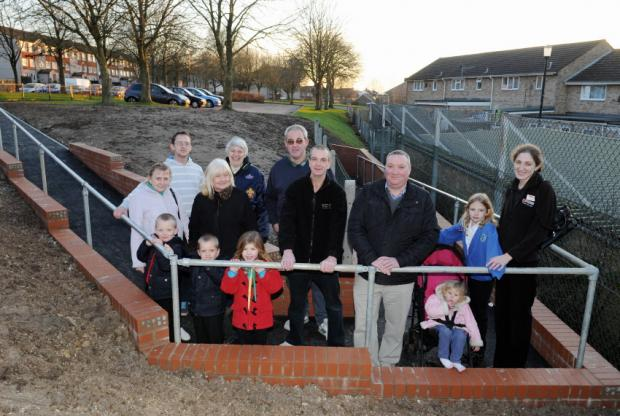 Local residents pictured on the new ramp