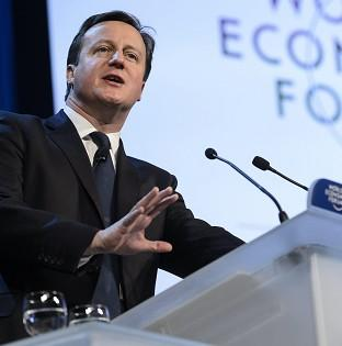 David Cameron addresses the World Economic Forum in Davos, Switzerland (AP)