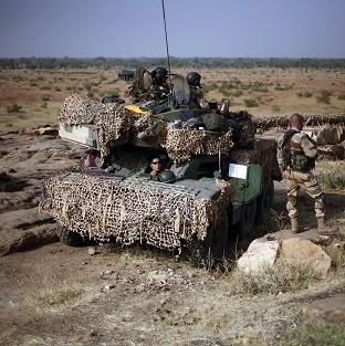 French soldiers man a Sagaie tank at an observation post outside Sevare, Mali (AP)
